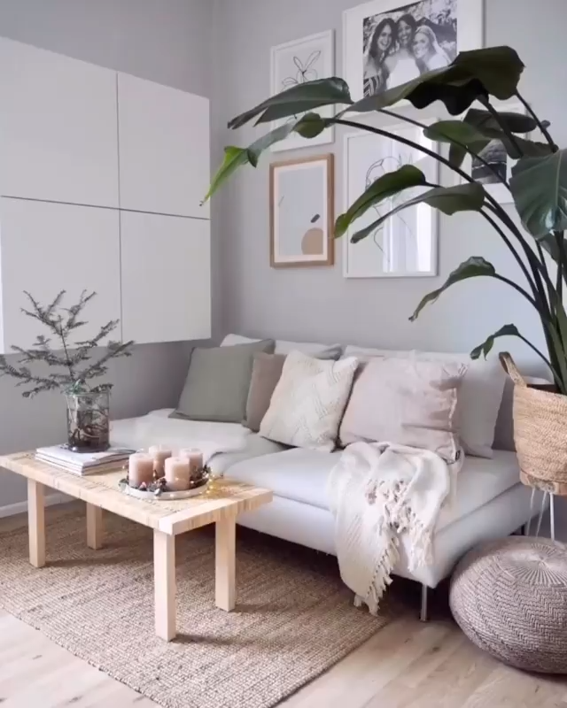 Living room transformation with cozy sofa