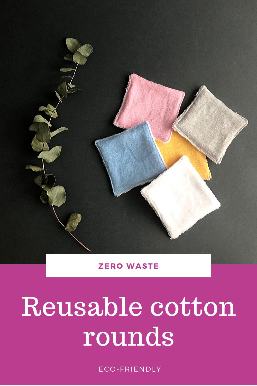 Reusable cotton rounds set of 10 15 20. Zero waste makeup