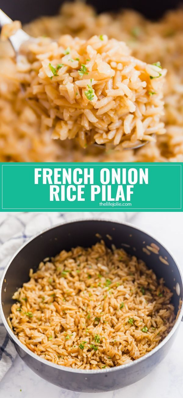 French Onion Rice Pilaf #easyricepilaf French Onion Rice Pilaf is full of savory flavor! It's a side dish that's as easy to make as it is delicious with only a little bit of work at the beginning an then you let your stove do it's thing so you can attend to the rest of your meal! via @thelifejolie #easyricepilaf French Onion Rice Pilaf #easyricepilaf French Onion Rice Pilaf is full of savory flavor! It's a side dish that's as easy to make as it is delicious with only a little bit of work at the #easyricepilaf