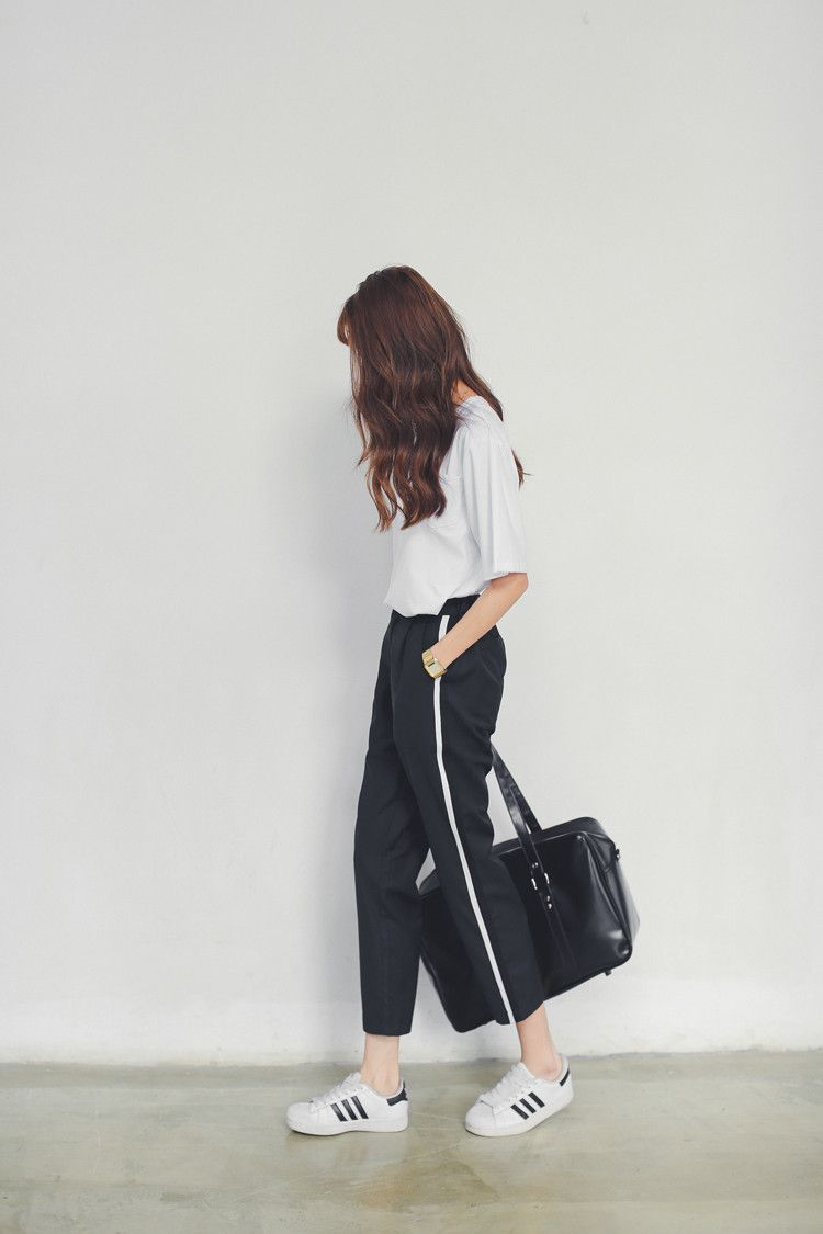 black loose pants with white stripe + white shirt + Adidas superstars white  sneakers + bag 0876b958e