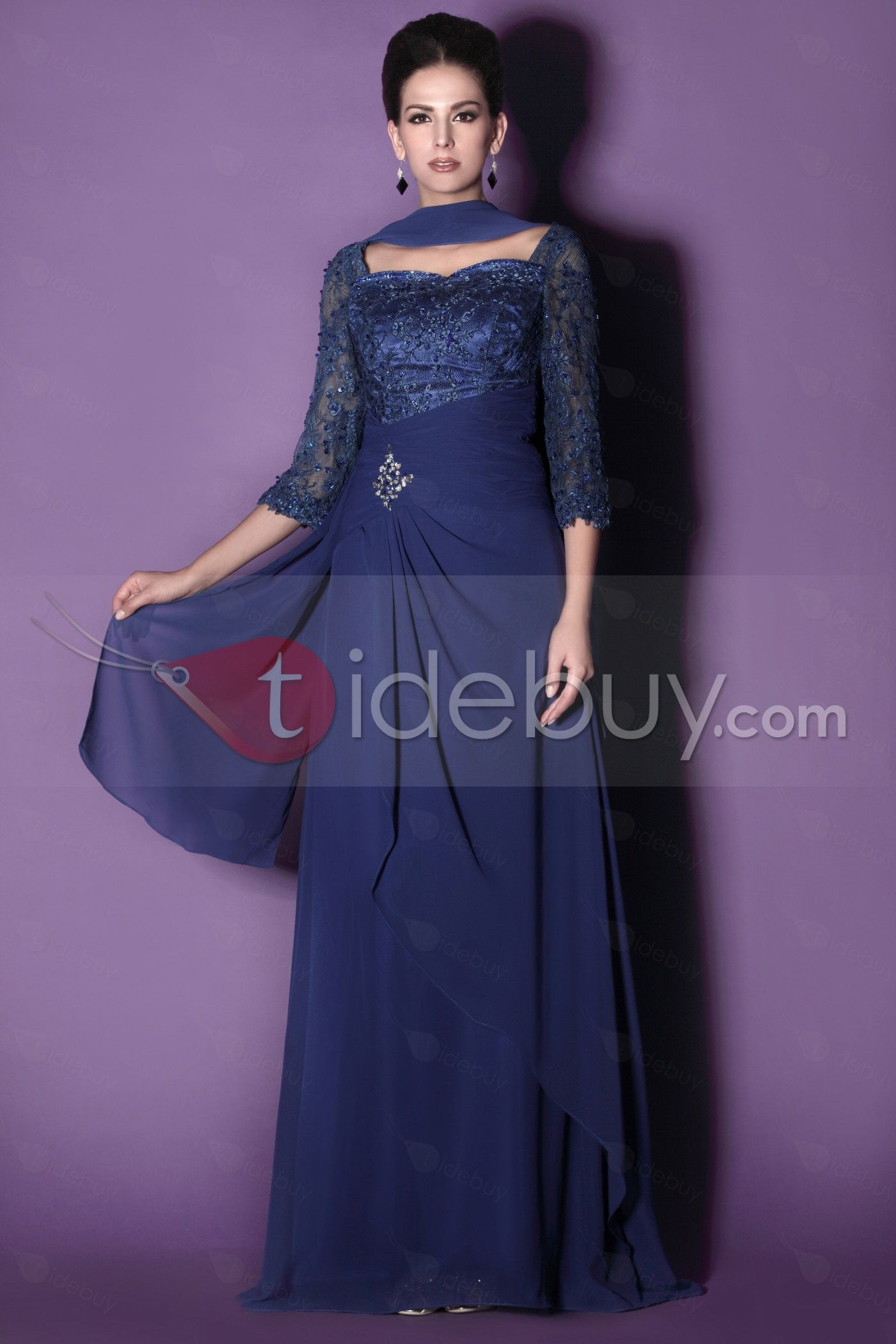 45f5e292ccb Gorgeous Lace A-Line Sweetheart Neckline 3 4-Sleeves Floor-length Taline s  Mother of the Bride Dress   Tidebuy.com