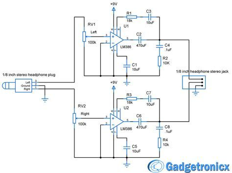 DIY headphone amplifier circuit diagram using LM386 audio amplfiier