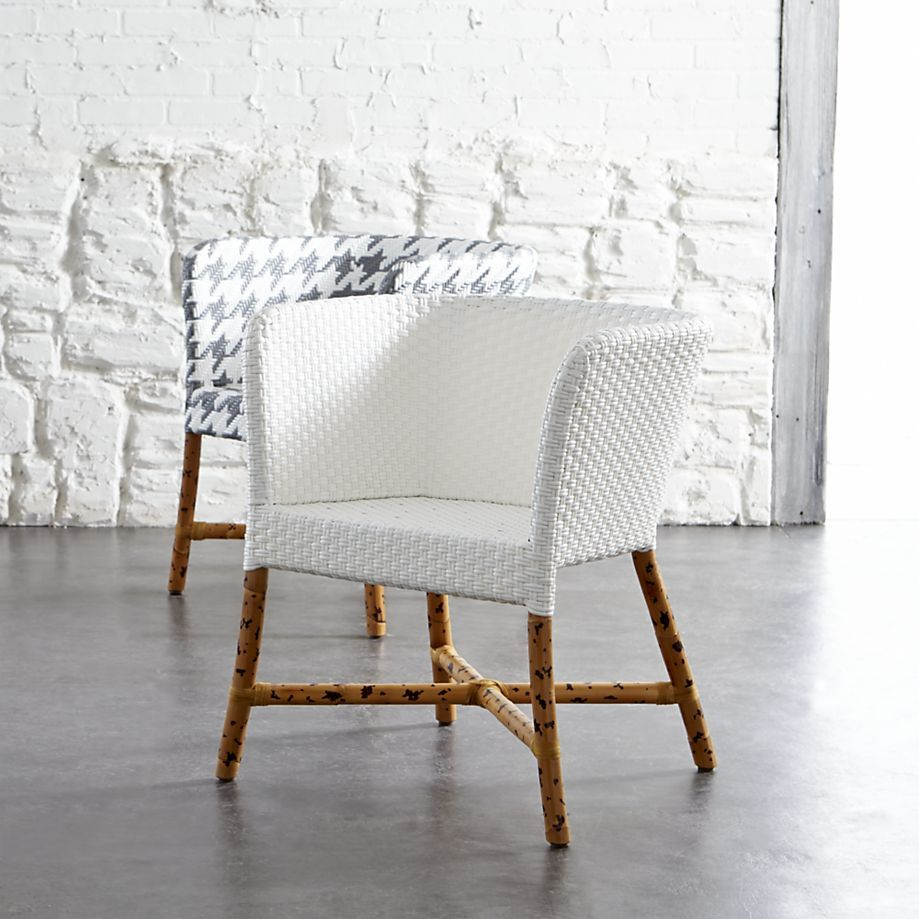 Como Grey and White Woven Chair in Paola Navone Como | Crate and ...