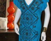 Hale Bob Blue Stretch Silk V-Neck Dress