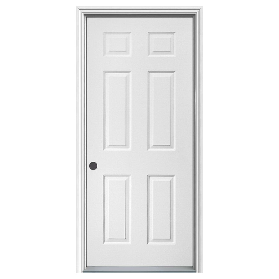 High Quality ProSteel 6 Panel Insulating Core Right Hand Inswing Steel Primed Prehung Entry  Door (Common: 32 In X 80 In; Actual: 33.5 In X 81.75 In)