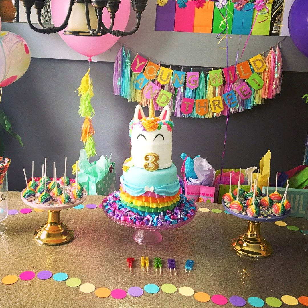 Young Wild And Three Birthday Banner Unicorn Party Decorations