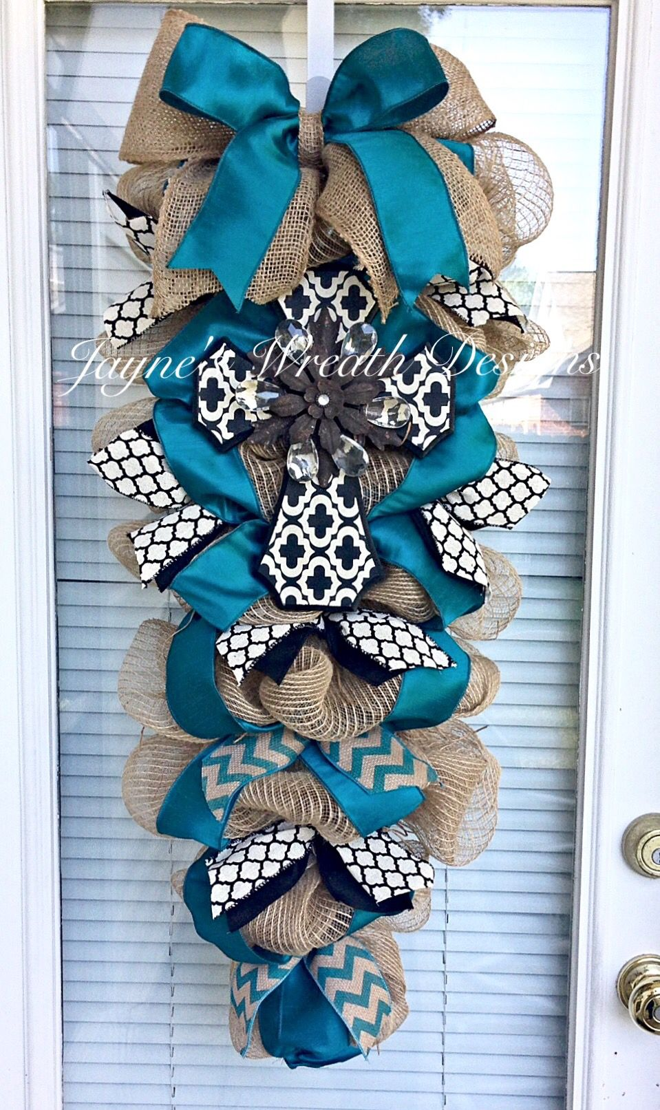 Crossburlap Door Swag With Teal Amp Black Dupioni Ribbons