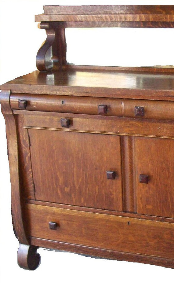 antique tiger oak sideboard buffet mirror shelf by. Black Bedroom Furniture Sets. Home Design Ideas