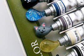 《水彩造型別針》擠出來的顏料是貓咪=θωθ=