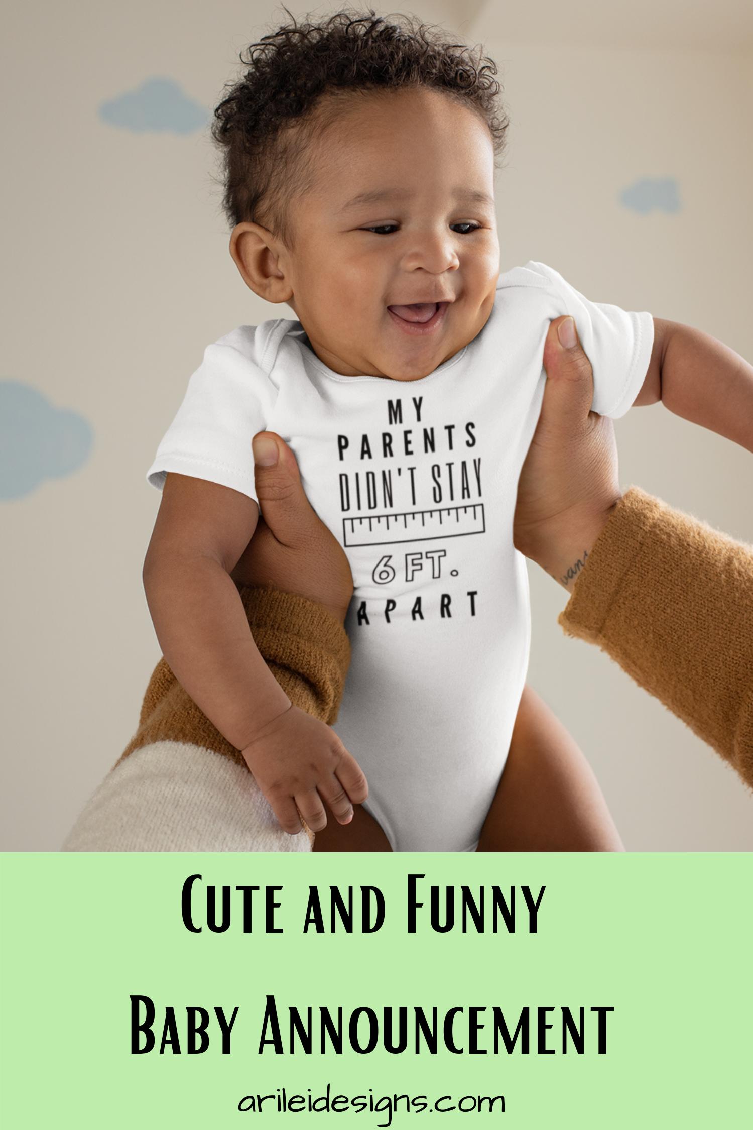 Funny Corona Baby announcement bodysuit 6 ft. Apart-Black Font | Etsy |  Baby announcement, Baby announcement funny, Baby