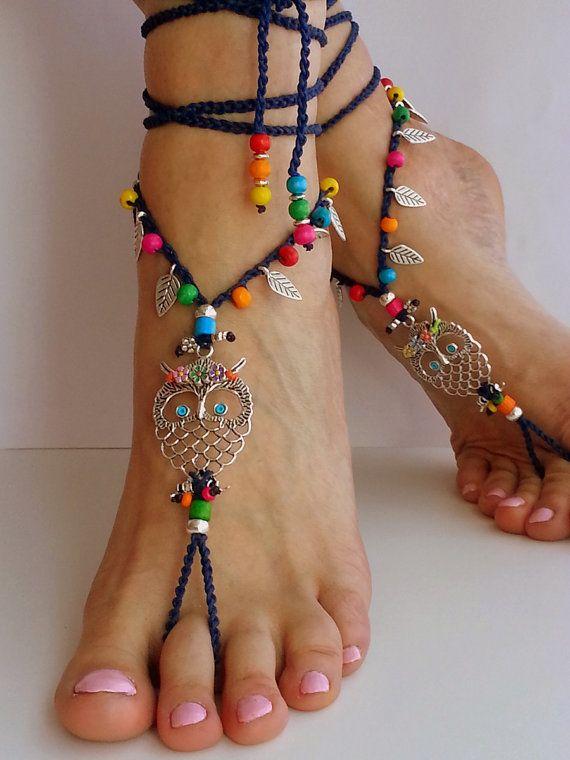 Hippie Owl Barefoot Sandals Boho Anklet Crochet Summer Jewelry Dark Blue Bohemian Ankle Bracelet Hippy