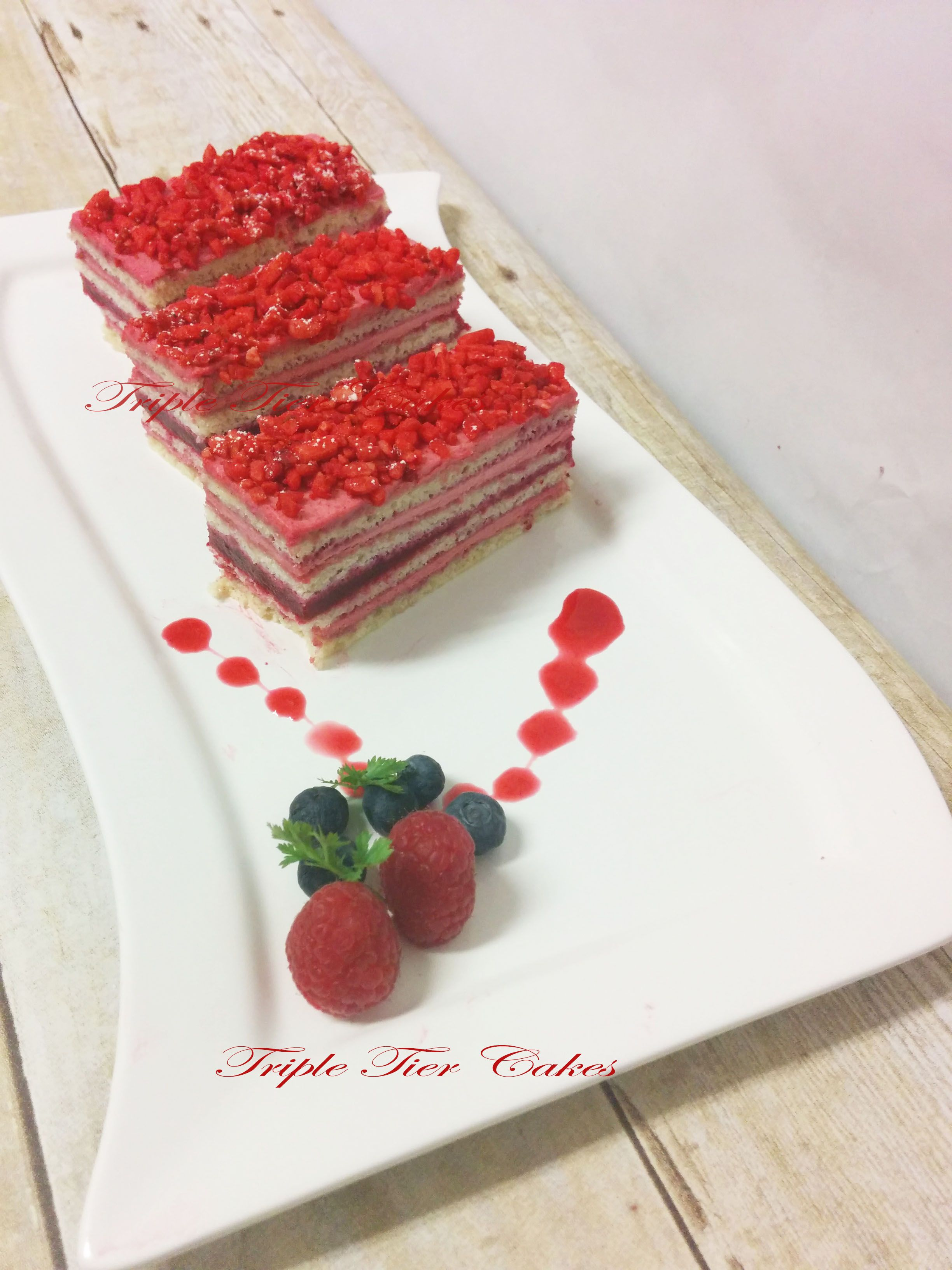 Red Opera   Tiered cakes. Desserts. Raspberry
