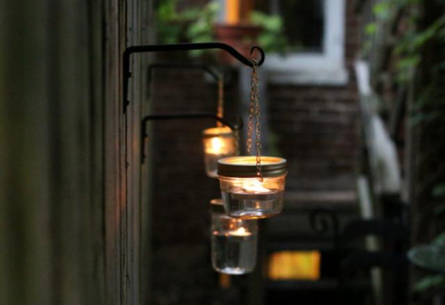 Mason jar candle lovely home diy ideas pinterest outdoor mason jar candle aloadofball Gallery