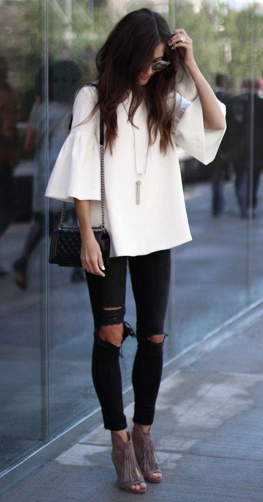 01e607dd7 40 opciones de cómo usar blusas con manga campana | Belleza | Looks ...