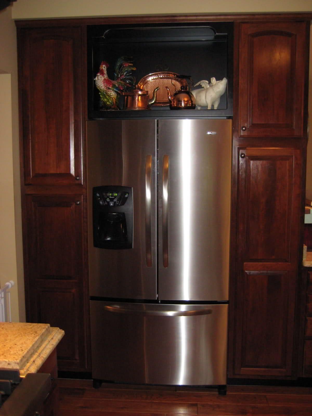 Cabinet Over Fridge Open Shelves Or Glass Cabinet Over The Refrigerator Diy Kitchen Glass Shelves Kitchen