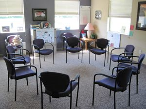 Group therapy room - Therapy may occur in individual or group room  settings… | Therapy office decor, Therapist office decor, Counselling room