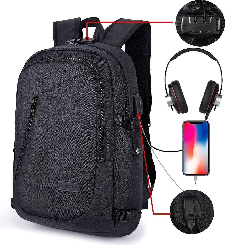 Anti-theft Men//Womens Laptop Notebook Backpack+USB Charging Business School Bag