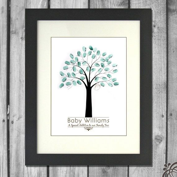 loving this little baby shower idea - each guests adds their thumbprint onto the tree!