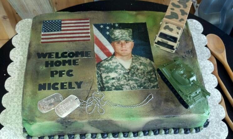 Welcome home soldier cake cake decorations pinterest for Welcome home soldier decorations