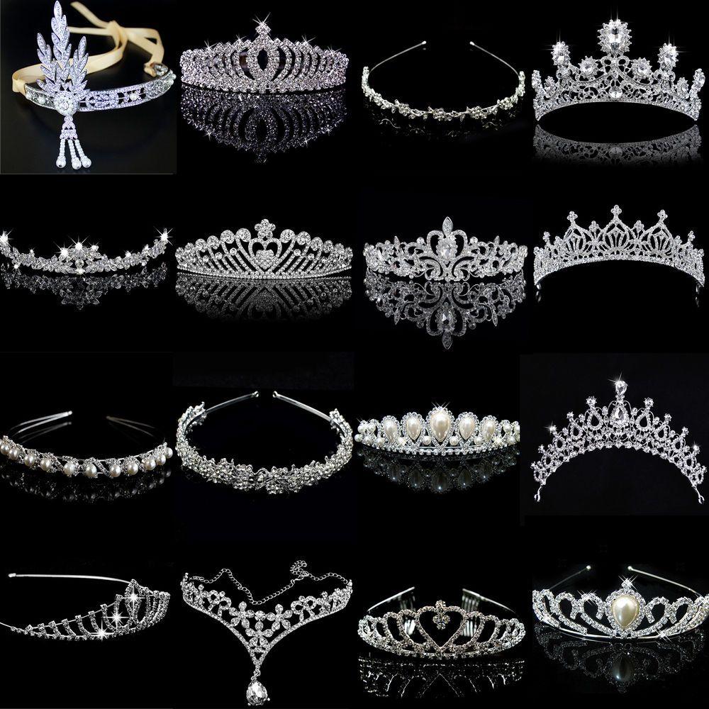 Hochzeit & Besondere Anlässe Kleidung & Accessoires Krone Silber Gold Strass Hochzeit Braut Haarschmuck Diadem Tiara Haarreif 022