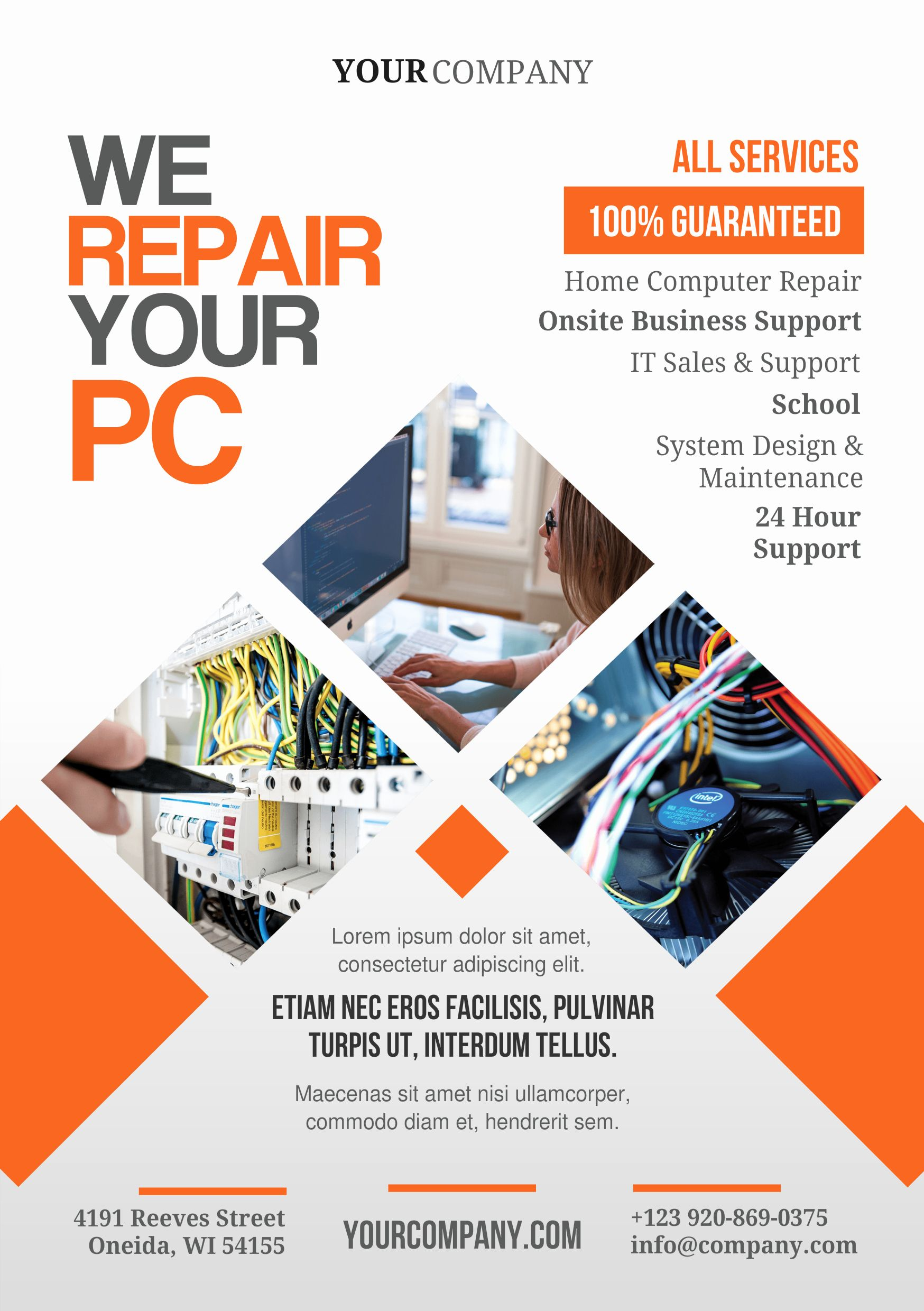 25 Free Computer Repair Flyer Template In 2020 Promotional