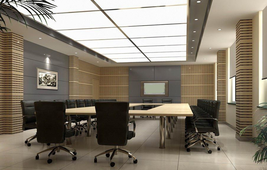Elegant conference room indoor wall unit design project for Meeting room interior design ideas