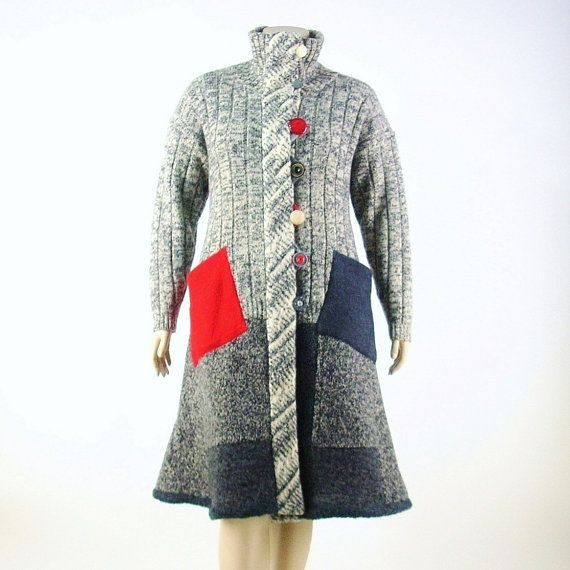 Reconstructed Sweater Coat/ Duster Coat/Upcycled/Large 14/16 ...