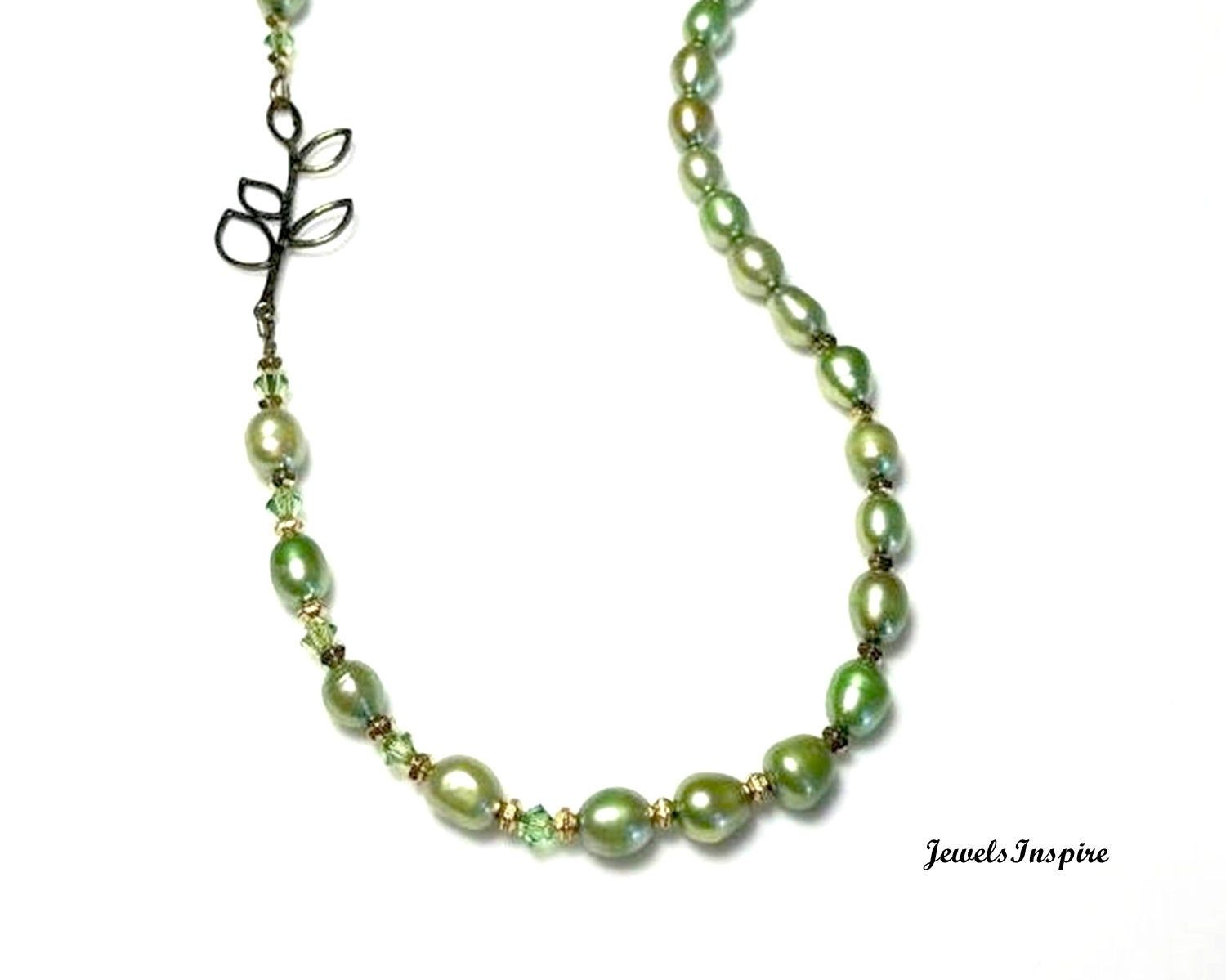 Freshwater Pearl Necklace Bronze Leaf Branch Link Olive Etsy Freshwater Pearl Necklaces Asymmetrical Jewelry Glass Beads Jewelry