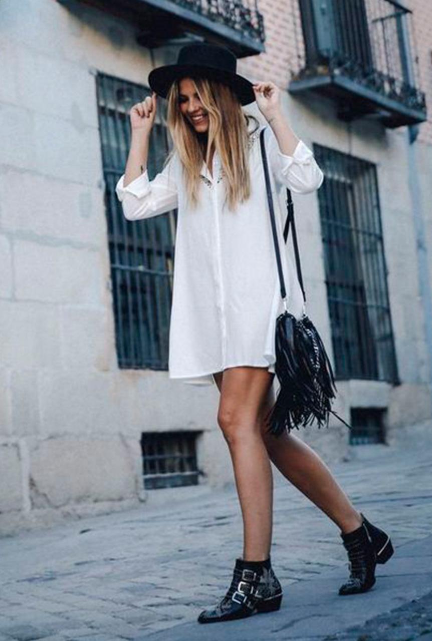 107431a621 Conjunto vestido camisero blanco