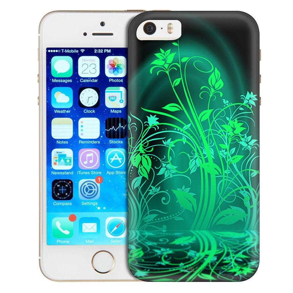 Apple iPhone SE Green Plant Beautiful Shadows on Black Trans Case