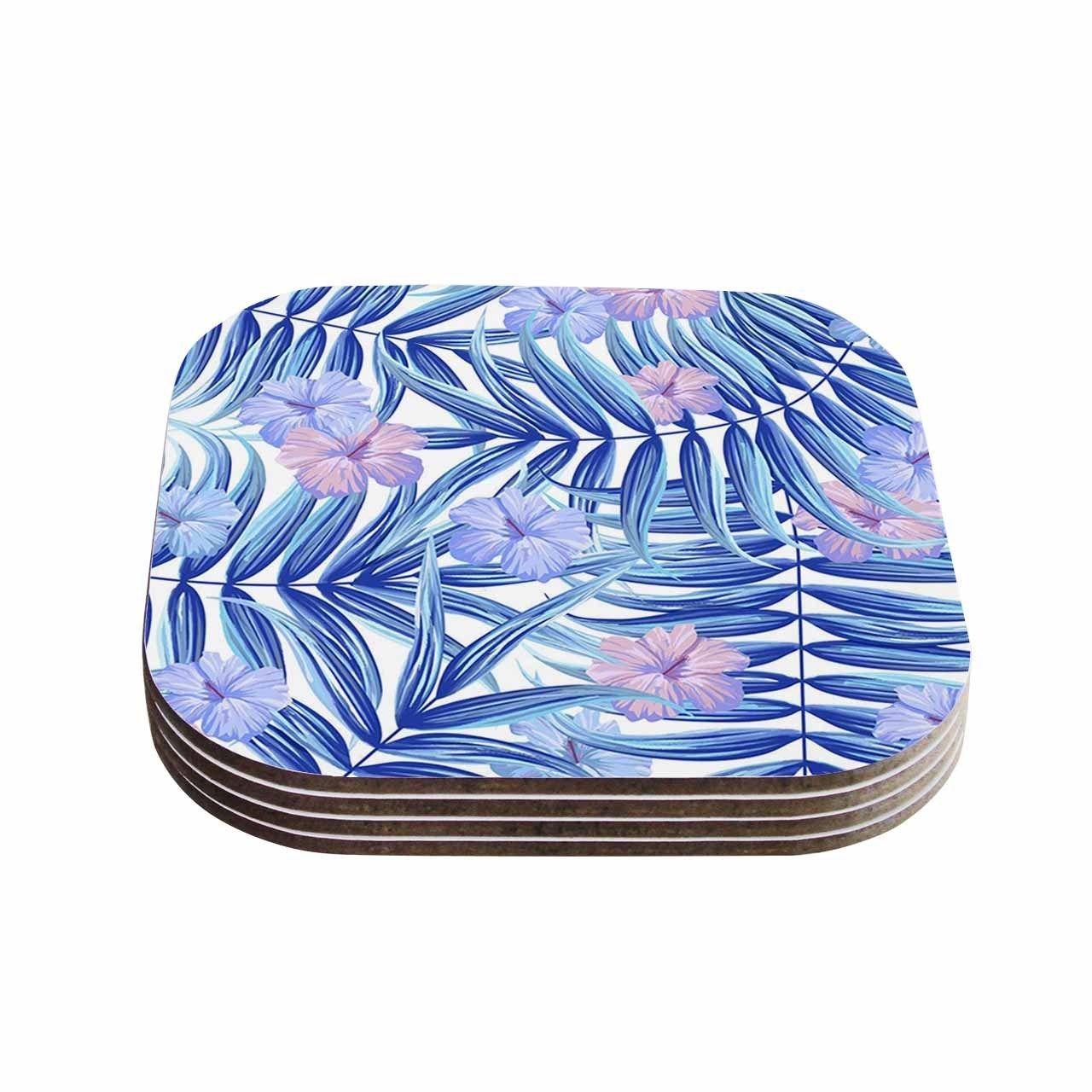 Kess InHouse Marta Olga Klara 'Hawaiian Pattern' Lavender Coasters