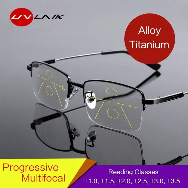 0b27099fe6 UVLAIK Titanium Progressive Multifocal Glasses Men Memory Aolly Blue Light Reading  Glasses Half Frame Prescription Eyeglasses