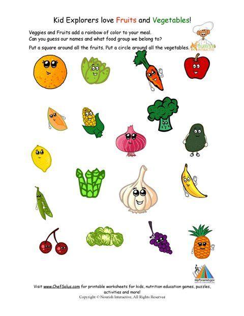 Printable Identify The Fruits And Vegetables Worksheet Kindergarten Worksheets Group Meals Kindergarten Worksheets Printable