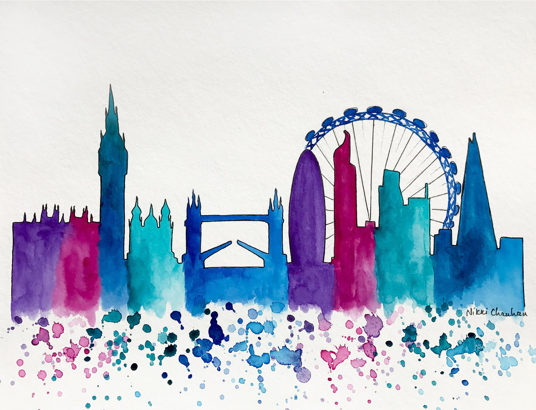 London Skyline Original Watercolor Painting Illustration Travel Illustrator Print Modern Wall Art Home Decor Skyline Art Watercolor Art Illustration Art