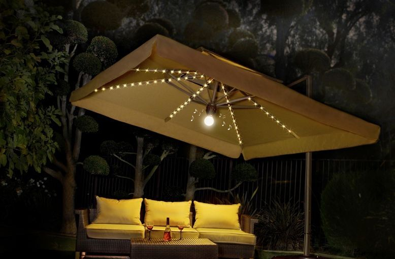 Side Post Umbrella With Lights, Large Patio Umbrellas With Lights