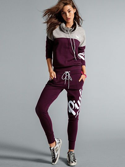 ef2f5bf8b4a29 PINK Lace-Up Skinny Collegiate Pant (Black Orchid 4RS - Small) // Victoria's  Secret