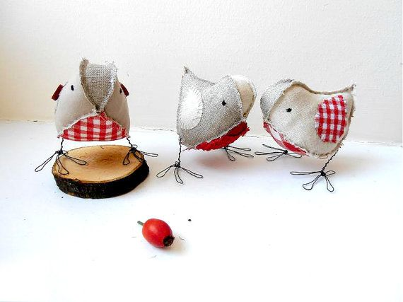 Robin Christmas birds set of 3 soft sculpture festive home decor rustic gray linen red gingham cotton ornaments READY TO SHIP