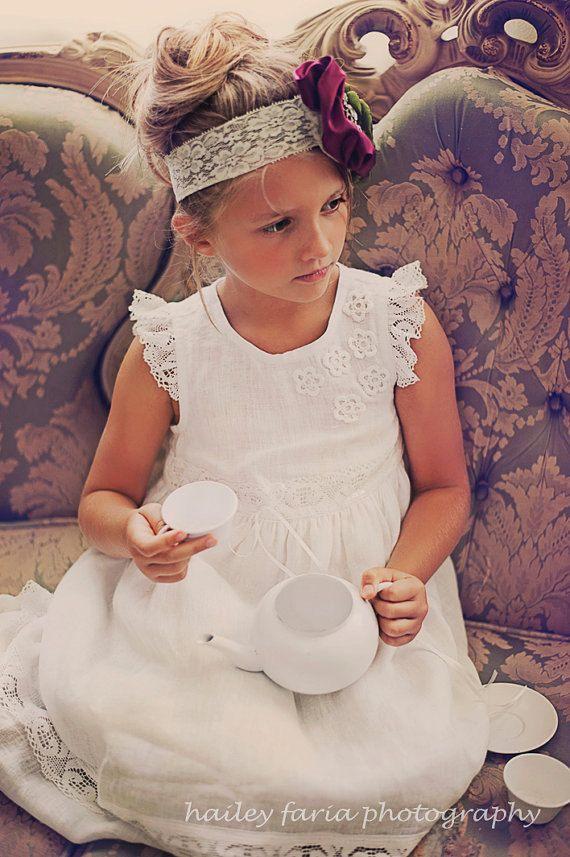 Weisse Blume Madchen Kleid Vintage Stil Von Snowflakelinen1 Auf Etsy