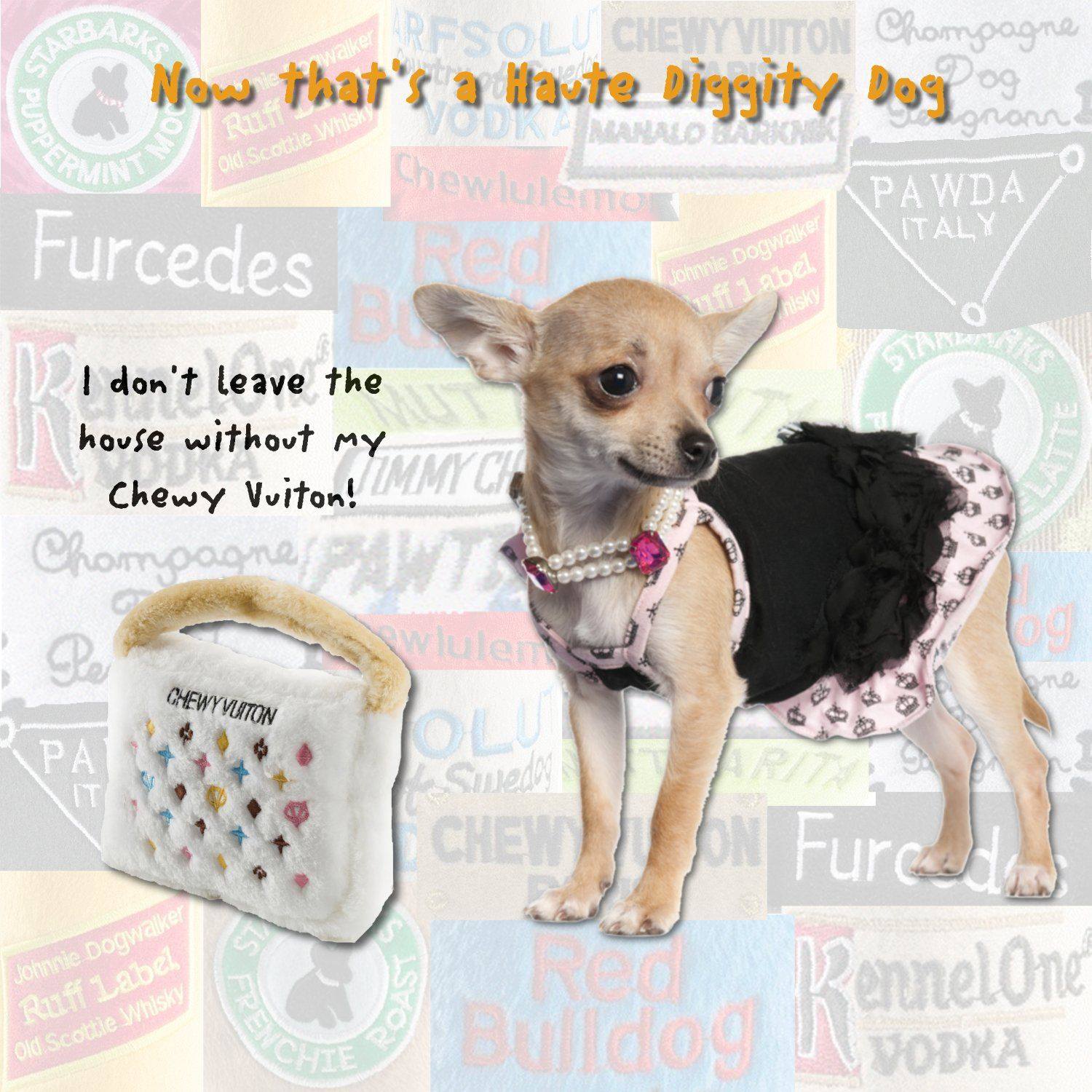 Haute Diggity Dog Fashion Hound Collection Unique Squeaky Plush Dog Toys A Pawrses And Pawbags Chewy Vuiton White Large You Can Dog Toys Dogs Scottie