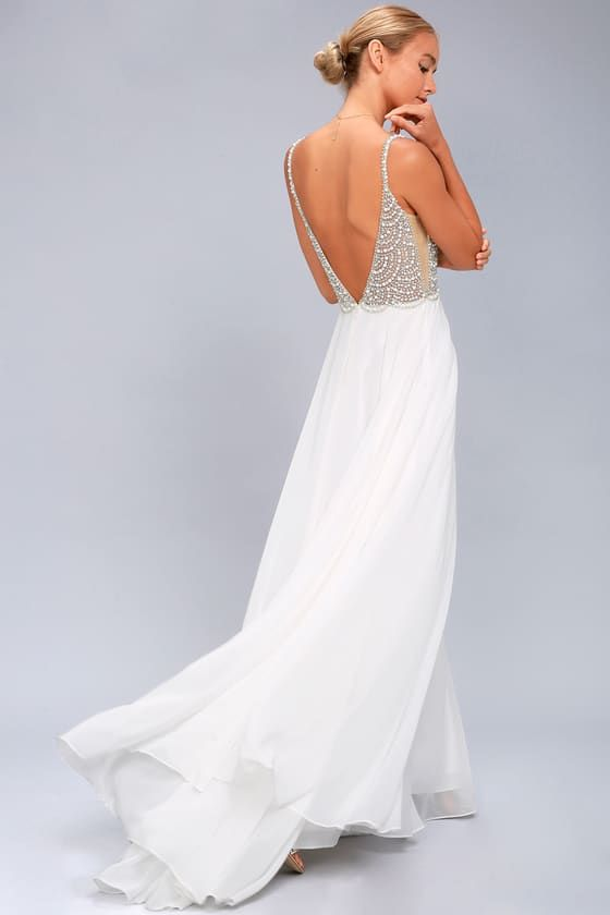 71b8d326ad For maximum glamour and glitz, the True Love White Beaded Rhinestone Maxi  Dress is just the look! This stunning dress starts at skinny mesh straps  fall to a ...
