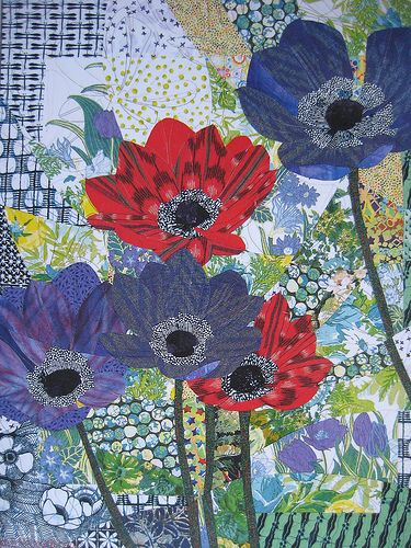"""""""Ikat Anemones"""" by Ruth B. McDowell.  Looks like a collage but it is pieced."""