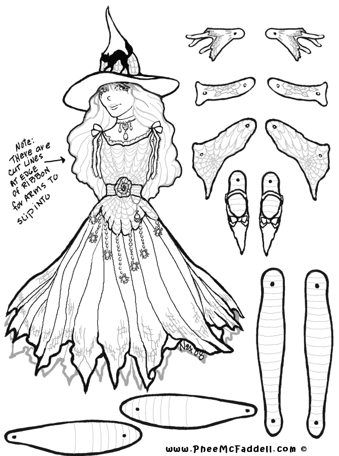 Marcella Witch Puppet Coloring Page Paper Dolls Paper Puppets Vintage Paper Dolls