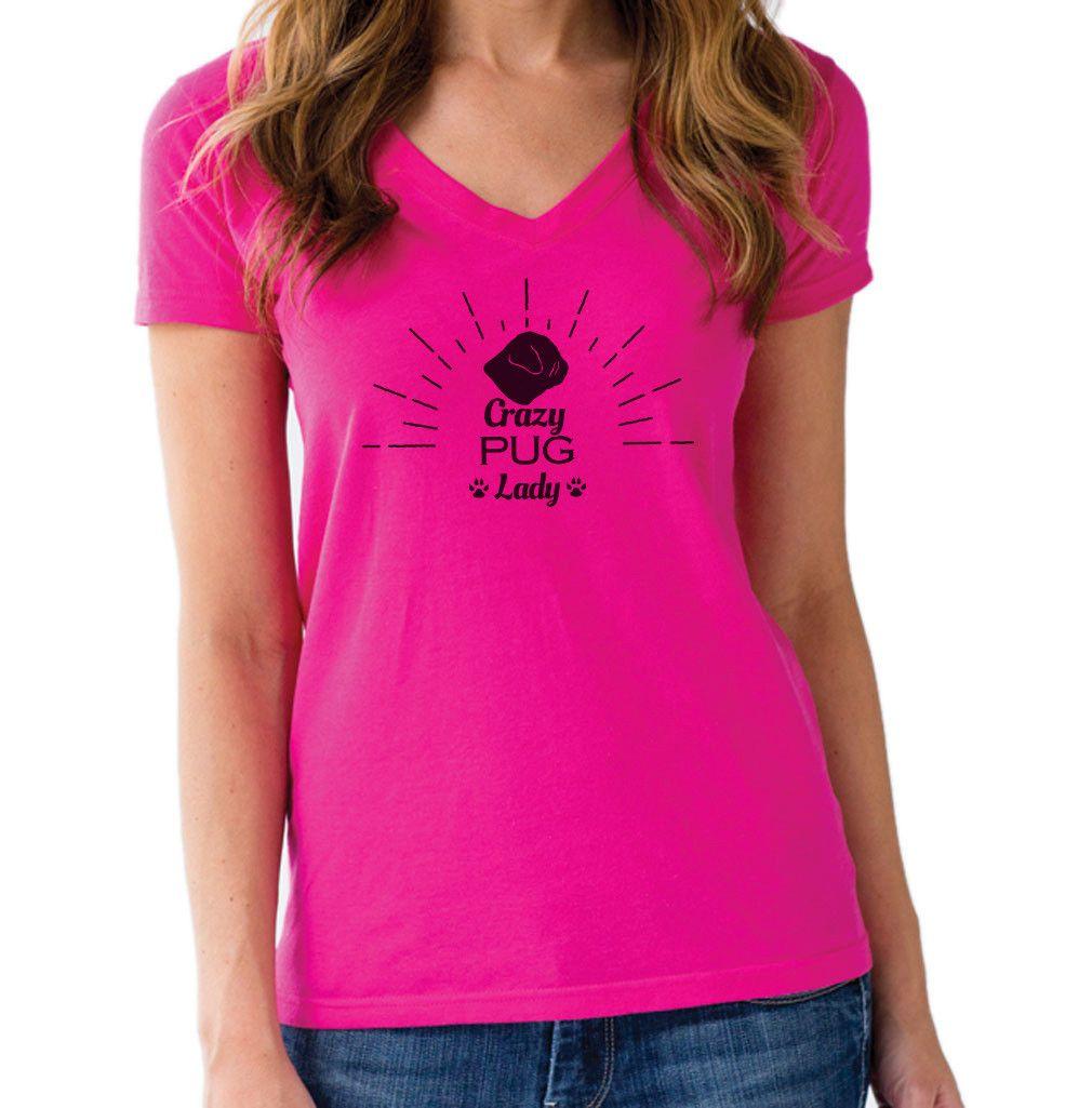 Women's Crazy Pug Lady Vneck T-Shirt - Juniors Fit