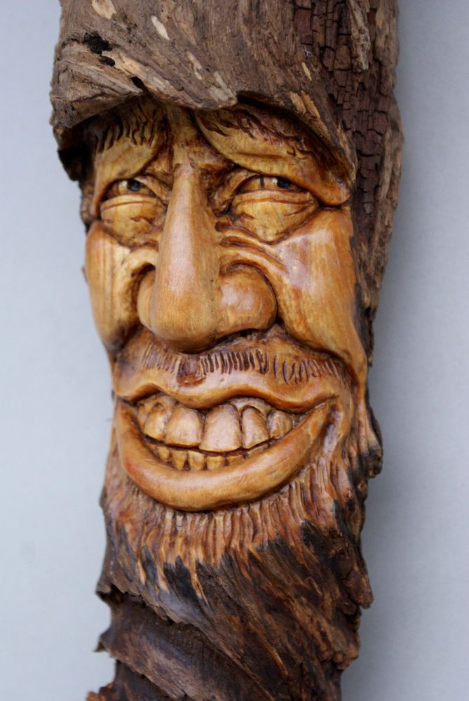 Wood Spirit Carving Hobbit Wizard Elven Forest Tree Face
