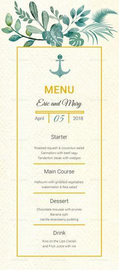 nautical wedding menu card template wedding invitation templates
