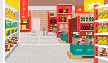 Ilustracion Plana De Supermercado De Vector Fondos De Dibujos Animados Ilustraciones Planas Fondos De Casas