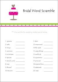 printable bridal shower games bridal word scramble