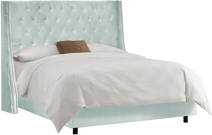 Skyline Furniture Sophia Wingback Bed, Light Blue Velvet | Le ...