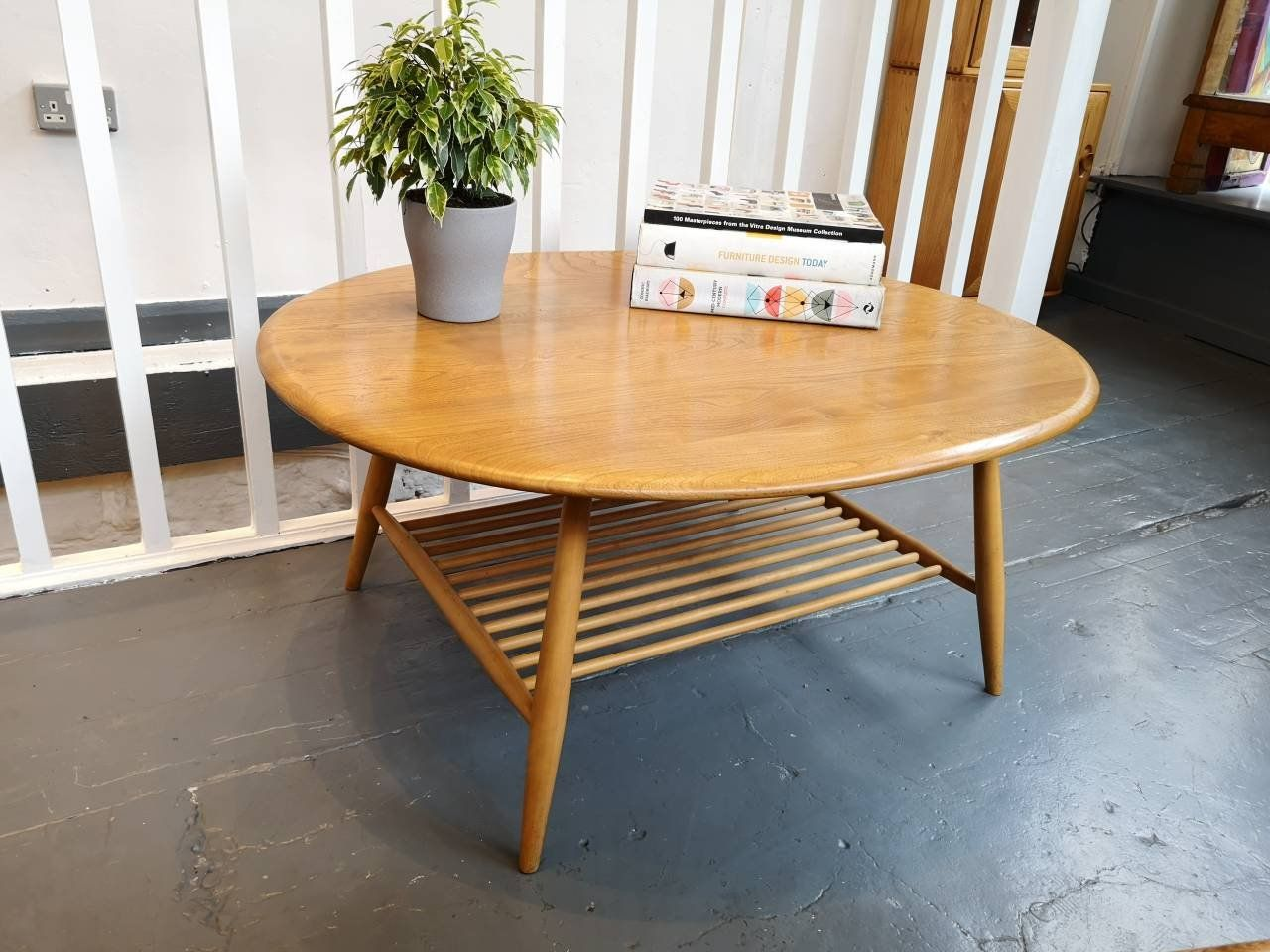 1960s Ercol Round Coffee Table With Magazine Rack In Elm Beech Vintage Retro Mid Century Coffee Table Vintage Room Ercol Furniture [ 960 x 1280 Pixel ]