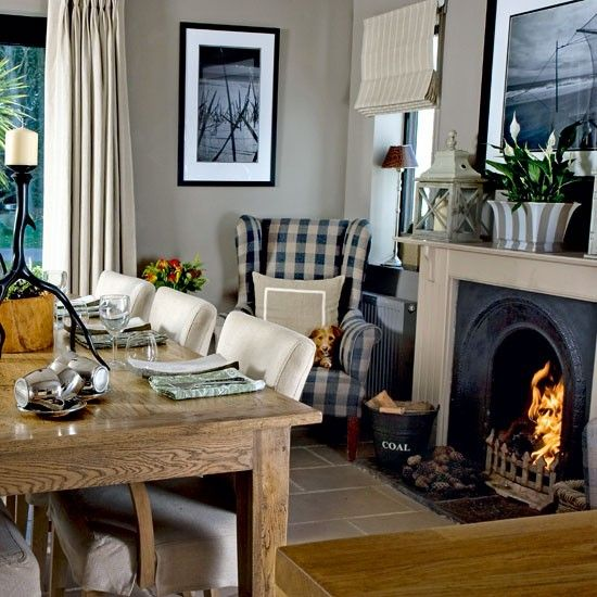 Dining Room With Roaring Fire